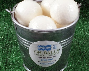 Oh BALLS - GOLF Ball Soap BUCKET - Grass Scent - Vegan - Great for a Gift