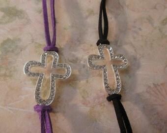 Silver Rhinestones Cross Bracelet