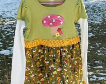 Kids mushroom t-shirt dress with orange sash
