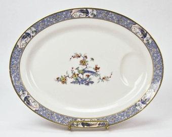 Oval 14 Inch China Platter Haviland China Limoges France Rajah Pattern White Background Blue Trim Vintage Pattern