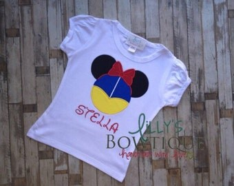 Snow White Inspired Mouse Head Shirt,Snow White Disney Mickey Mouse Ears Appliquéd Shirt or Onepiece,Girl/Princesses- Disney Vacation Shirt