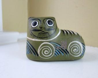Tonala Pottery Cat Figurine