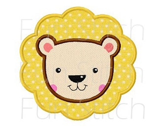 Baby lion applique machine embroidery design