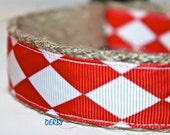 Red and White Dog Collar, Holiday Dog Collar, Ribbon Dog Collar, Adjustable Collar, Diamond Dog Collar