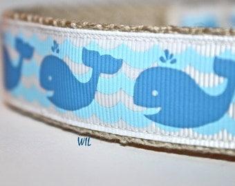 Whale Dog Collar, Adjustable Dog Collar, Ocean Dog Collar, Wave Dog Collar, Hemp Collar