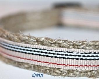 """Khaki and Red Stripe Collar, 5/8"""" Wide Dog Collar, Narrow Dog Collar, XS Dog Collar"""