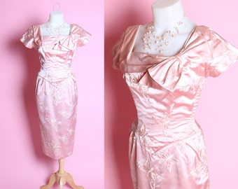 DESIGNER 1950's Glowing Pink Silk Extreme Hourglass Cocktail Dress w Huge Embroidered Butterflies & Bow Portrait Collar by Alix of Miami - M