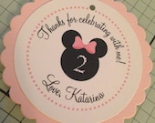 Minnie Mouse Inspired Collection: Set of 8 Circle Favor Tags. Minnie. Tags. Favors. Bow. Bowtique. Clubhouse. Birthday.