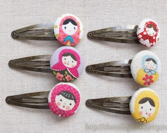 Hair Accessories, Handmade Hair Snap Clips-Retro Yellow Pink Purple Floral Matryoshka Russian Dolls Bronze Clip(1 PCS, Choose Pattern)
