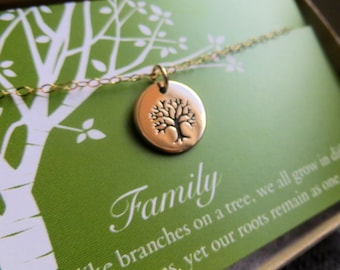 Family tree necklace, tree of life necklace, great holiday gift for grandmother, mother longevity