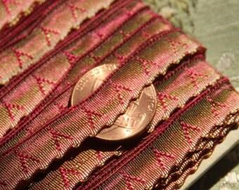 1 yard Rare Antique silk ribbon for ribbonwork flowers  ombre metal burgundy green trim flower flapper 1920 millinery hat