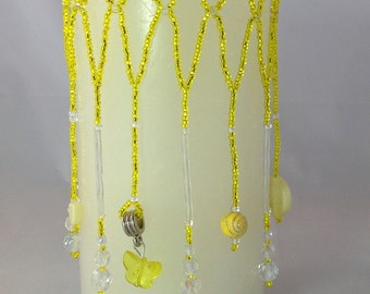 """Candle cover for a 3"""" X 6"""" candle.  Beaded candle cover - Yellow beaded candle cover - handmade beaded candle cover - custom color cover"""