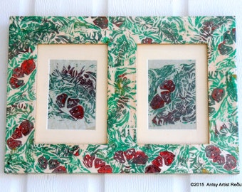 Berry picture Frame double pictures photos reuse wood wall hanging red green original strawberry plants print collage on border areas