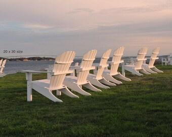 White Adirondack Chairs, Castle Hill Inn, Newport Rhode Island, Coastal Home Decor, Ocean State Art, Office Wall Art, Photography Prints