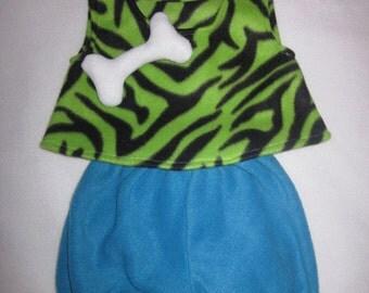 Ready To Ship 12/18M Flintstones Pebbles Green Zebra Cave Girl Halloween Costume Set Boutique PAGEANT