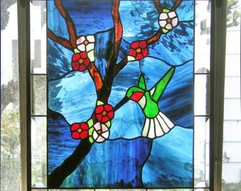 """Hummingbird with Cherry Blossoms-  19"""" tall  x 16"""" wide- Stained Glass Window"""