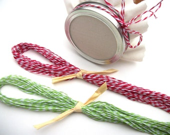24 Christmas Baker's Twine ribbons for mason canning jars, shower favor jars, gift jars, precut red and green twine pieces for jam jars