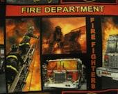 Fire Trucks in Blocks Handmade Fleece Blanket - Ready to Ship Now