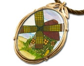 Windmill Bronze Art Pendant