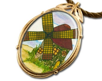 Windmill Bronze Art Pendant