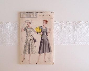 1950s dress pattern / Fit & Flare midi full skirt Notched Collar Dress ...Butterick printed pattern, Unused, F/F 16/34