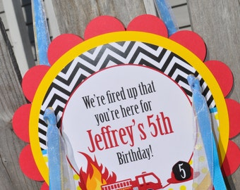 Fire Truck Birthday Door Sign - Fire Truck Birthday Decorations - Boys Firetruck Theme Party Sign