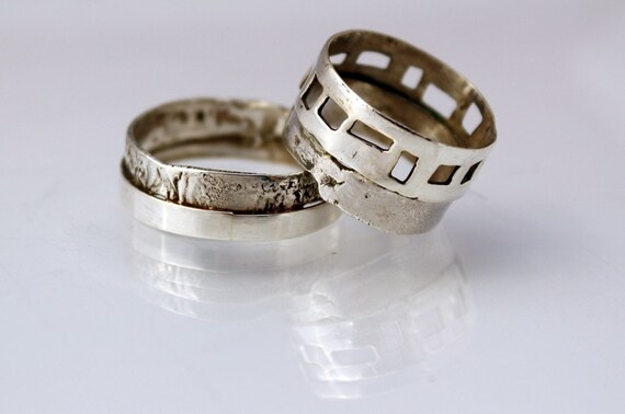 925 silver wedding band set, alternative wedding rings, unique wedding band set