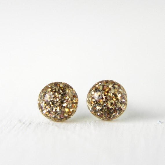 tiny glitter post earrings in sparkly gold - 5mm gold glitter studs sterling silver jewelry