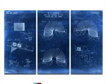 Slinky Blueprint Patent Design Triptych Canvas Giclee - 36x24