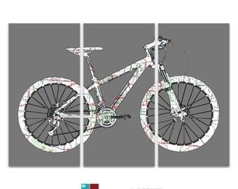 Austin Texas Street Map Mountain Bike Triptych Canvas Giclee - Gray