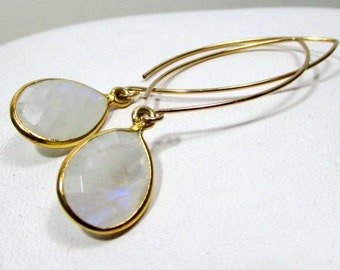 Moonstone on 14k Gold Filled otus Style Ear Wire Artisan Earrings