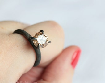 Solitaire Black Silver Ring Peach Zirconia OOAK Prong Ring T13