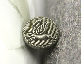 Metal Buttons - Antiqued Silver Embossed Flying Swan Pattern Buttons, 0.59 inch. 10 pcs