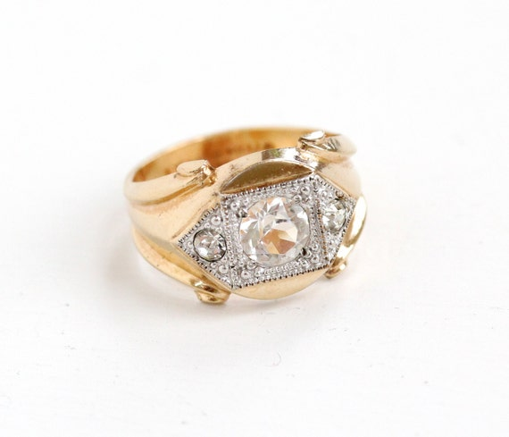 Vintage 10k Yellow Gold Filled Rhinestone Ring By