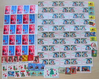 Season's Greetings 115 Vintage Christmas Seals Mega Mixture Holiday Stamps Contemporary Traditional 1940s 1960s 1970s Children Kids XMas