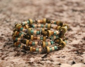 Turquoise, Cream and Brown Wood Beaded Bracelet