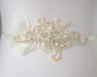 READY TO SHIP,Ivory Crystal beaded sash, Lace, Ivory petal sash, rhinestone beaded sash, Ivory Flower Petal sash, ivory petals, bridal sash