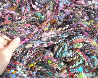 art yarn ANTICIPATION, 105 yard skein, handspun,plyed with lurex, wool mohair alpaca sari silk Multi color, thick, wild and crazy fibers