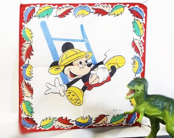 Childrens Handkerchief. MIckey Mouse, Football in Leather Helmet , Vintage