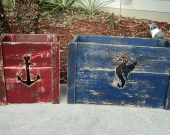 Set Of 2 Decorative Crates, Storage Crate,Tote Box, Beach House Decor, Nautical, Anchor Seahorse Cutout