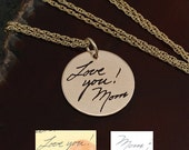 """Gold Handwriting Necklace - 3/4"""" Round Gold Filled Handwriting Jewelry"""