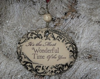 Handmade Ceramic Ornament - It's the Most Wonderful Time of the Year