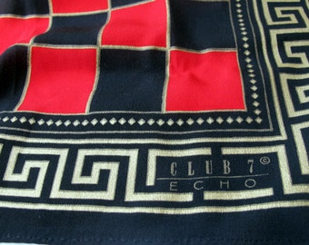 Vintage Silk Scarf ECHO Checkers red black gold