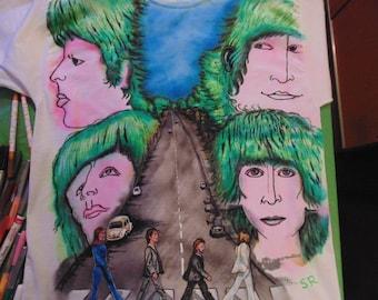 Revolver Abbey Road, Beatles hand painted Tshirt