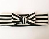 Black and White Stripe Headband / Headwrap 1/2 Inch Stripes in Ponte Stretch Knit Fabric