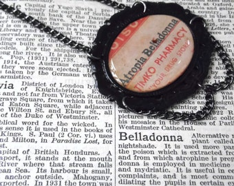 Poison Bottle Label Necklace - ATROPA BELLADONNA - Very Limited Ed Gothic Spooky