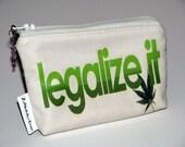 Paraphernalia pouch, weed pouch, cotton, marijuana charm, silver charm, marijuana leaf patch, marijuana leaf cotton lining, legalize it