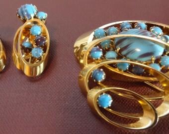 Juliana Style Blue Art Glass Atomic Pin & Earrings