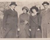 Vintage Photo - Four Friends - Vintage Photograph, Vernacular, Found Photo  (BBB)