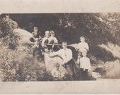 Vintage Photo - Children and Dad by the Stream - Vintage Photograph, Vernacular, Found Photo  (SS)